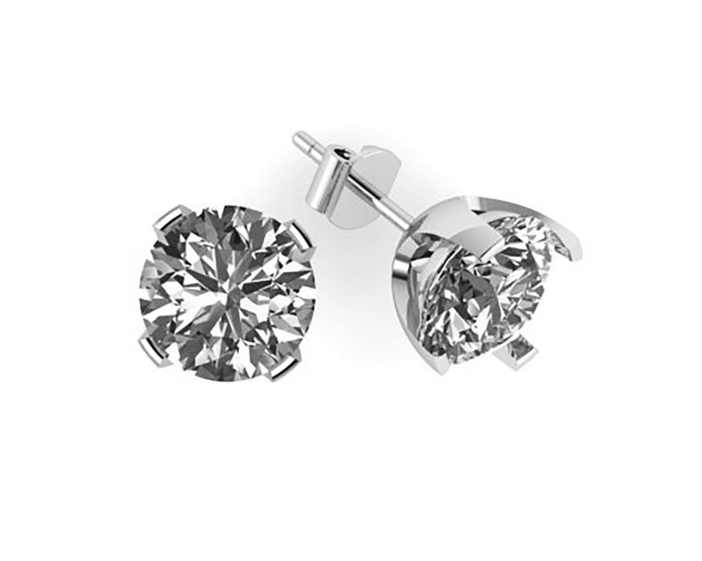 earrings sterling diamond silver round tdw store solitaire