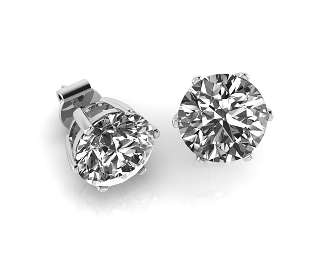 white gold stud forevermark tw diamond earrings in solitaire
